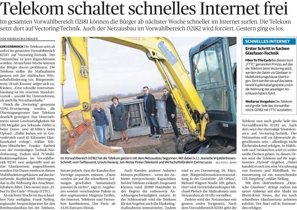 NGZ 20150310 Telekom schaltet schnelles Internet frei